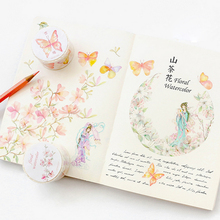 1X Kawaii flower series tape washi DIY decoration scrapbooking planner masking kawaii Self Adhesive Tape stationery