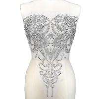 UNique Silver 35x50cm Sew on Sequin Rhinestone Strass Bodice Decorative Patches Appliques For Marriage Bridal Wedding Prom Dress