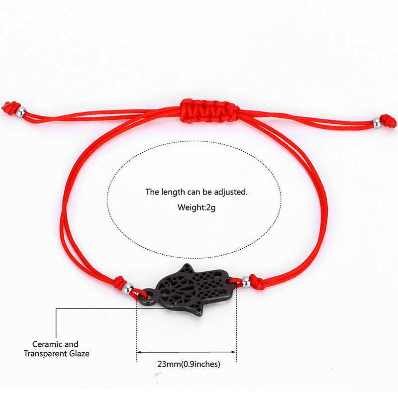 100 pz/lotto Hot Fortunato Kabbalah Red String Bracciali di Filo Prezzo Incredibile di Ceramica di Fascino Delle Donne Fatti A Mano di Fatima Amicizia Gioielli