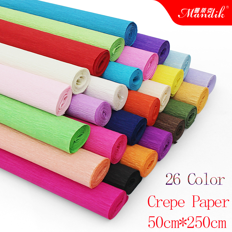 50cm*250cm Kids DIY Wrinkle Paper Wrapping Decoration Paper Origami Flower Scrapbooking Crepe Paper