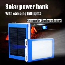 New Solar Power Bank With Camping LED lights Lamp Outdoor Flashlight Cargador Sun Battery Charger To Electronics Free shipping