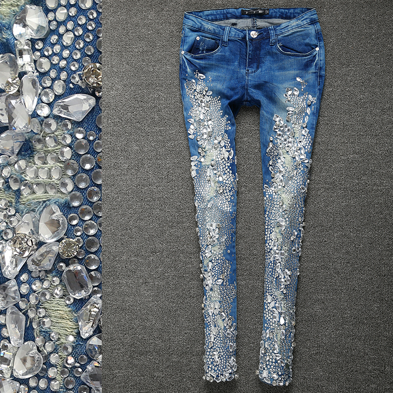 2018 autumn fashion Rhinestones Diamond skinny Women Denim   Jeans   Skinny Slim Stretch Pencil   jeans