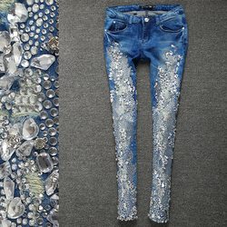 Printemps automne mode strass diamant maigre femmes Denim jean Slim Stretch crayon jean