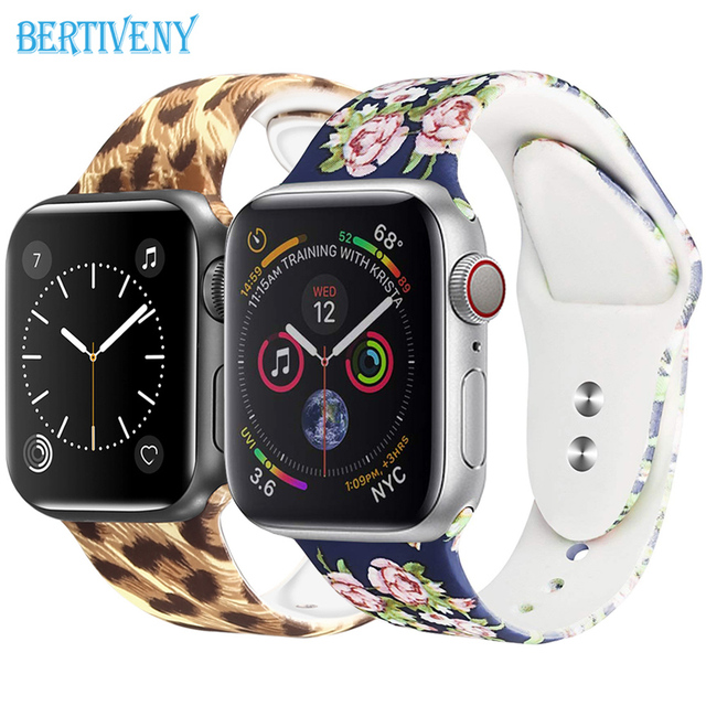 С принтом силиконовый ремешок для Apple Watch 38mm/40 мм 42 мм/44 мм спортивный ремешок для iwatch серии 4/3/смарт часы браслет