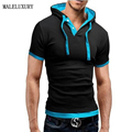 T Shirt Men Brand 2016 Fashion Men'S Hooded Collar Sling Design Tops & Tees T Shirt Men Short Sleeve Slim Male Tops 4XL NFSD