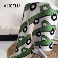 ALICELU 2017 New Portable Car Pattern Multicolor Bulk Weaving Blanket Cartoon Cute Child Baby Sofa Bedding Cotton Knit Blanket