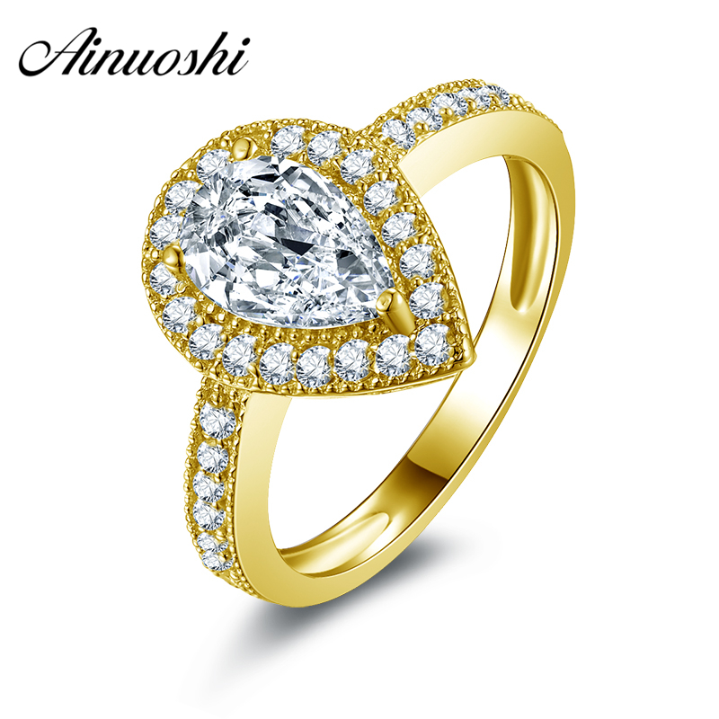 все цены на AINUOSHI 10k Solid Yellow Gold Wedding Rings Pear Cut Simulated Diamond Halo Engagement Bague 1.5 ct Brilliant Women Ring Bijoux