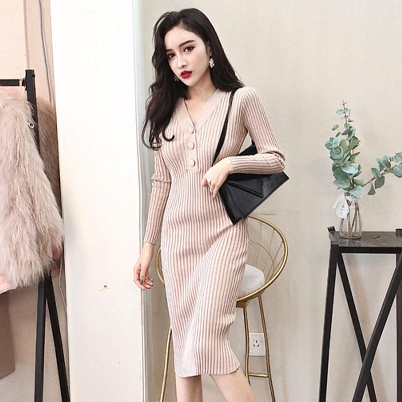 fashion Brand Dress fall winter style Women female knitted Dresses bodycon bandage vestidos roupas femininas new basic black new