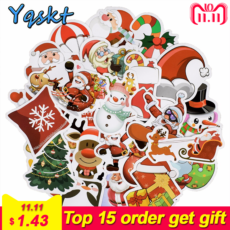 купить 25 Pcs Christmas Stickers for Laptop Car Styling Guitar Luggage Fridge Vinyl Decal Home Decor DIY Graffiti Waterproof Stickers по цене 98.27 рублей