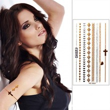 Sex Products Silver Gold Tattoo Stickers Waterproof Temporary Flash Bracelet Tattoos VH0207