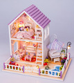 Newest DIY Wood Doll House with Furniture,Romantic Purple House Miniature Dollhouse Assembling Toys for Kid's Christmas Present