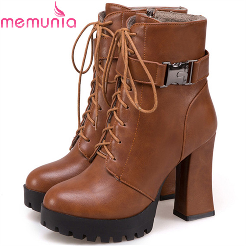 MEMUNIA Large size 34-43 ankle boots for women PU soft leather high heels shoes woman platform boots female zip solid eiswelt women zip ankle boots heels women soft leather platform shoes female wedges shoes zqs185