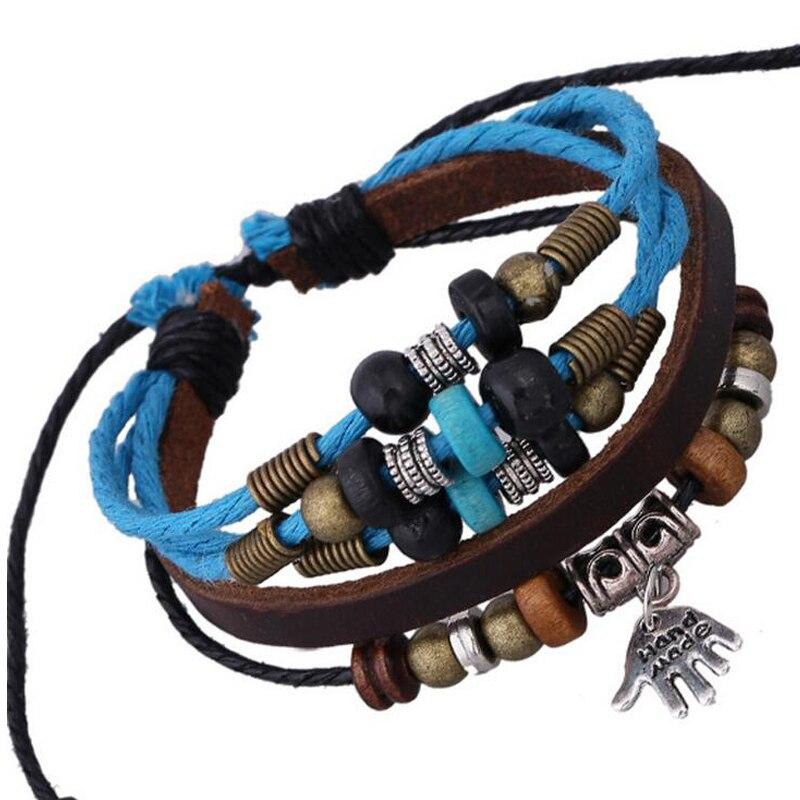 Korean Fashion Charm Buddha Bracelet For Teenager Girls Multilayer Women Genuine Leather Bracelet Bangles Beads Strand Bracelets Браслет