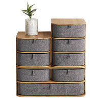 Multi layers Bamboo Wood Storage Box with Oxford Cloth Drawers for Desktop DC120
