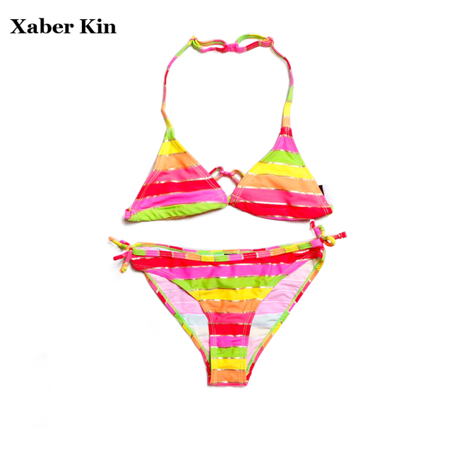 9-16T Girls Swimsuit Large Size Two-Pieces Bikini Suits Lovely Striped Children Swimwear Beachwear Girls Swimsuit G1-SW635
