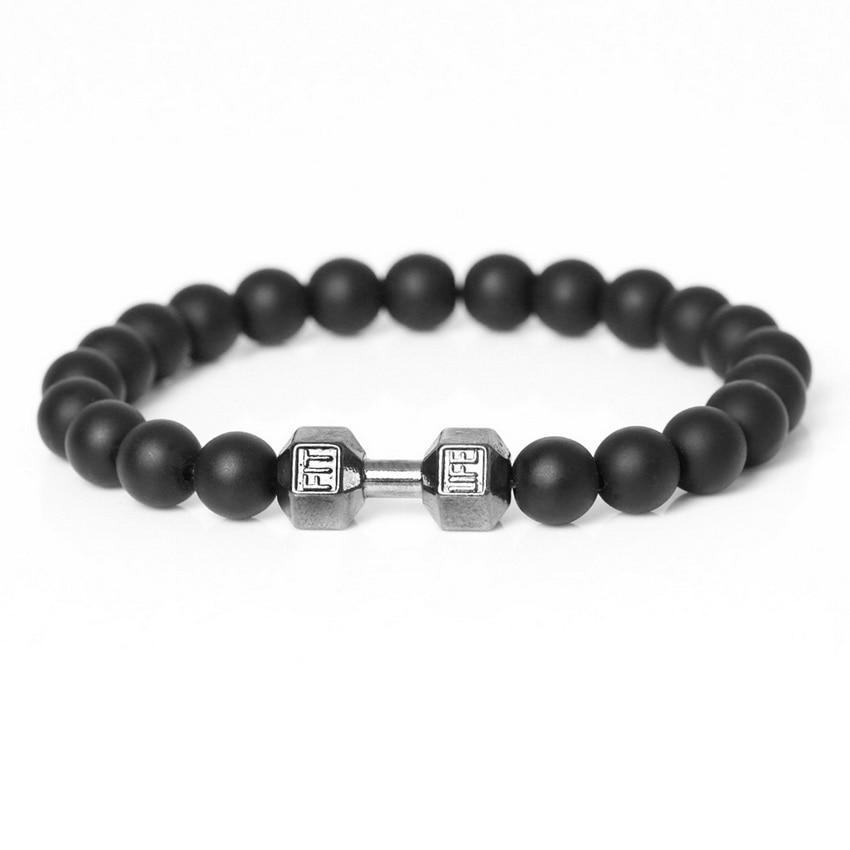 New Fashion Handmade Strand matte onyx Stone Beads Male Bracelets High Quality Sporty VintageDumbbell Friendship Men's Bracelet.