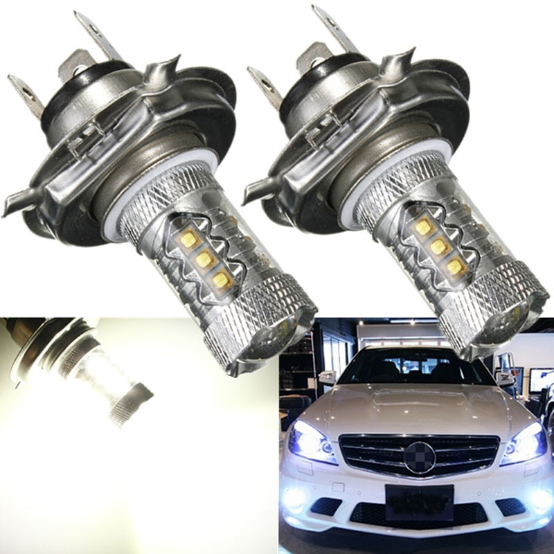 kongyide Healight Bulbs 2pc White 80W H4 9003 HB2 LED DRL 12V Fog Light Bulb Headlight High Low Beam NOV10