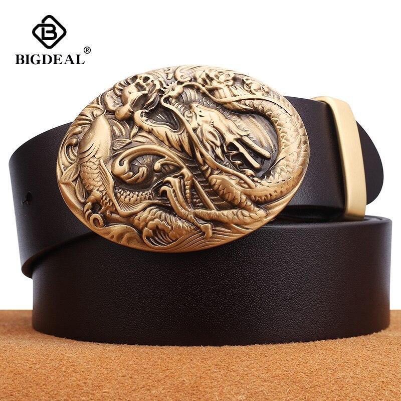 BIGDEAL Cow Genuine Leather Men's Belt Pin Buckle Accessories Male Belts Gift Designer Belt Men Jeans