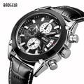 2016 MEGIR Masculino Chronograph Luminous Mens Watches Mans Leather Luxury Brand Military Wristwatches Hour Clock with Calendar