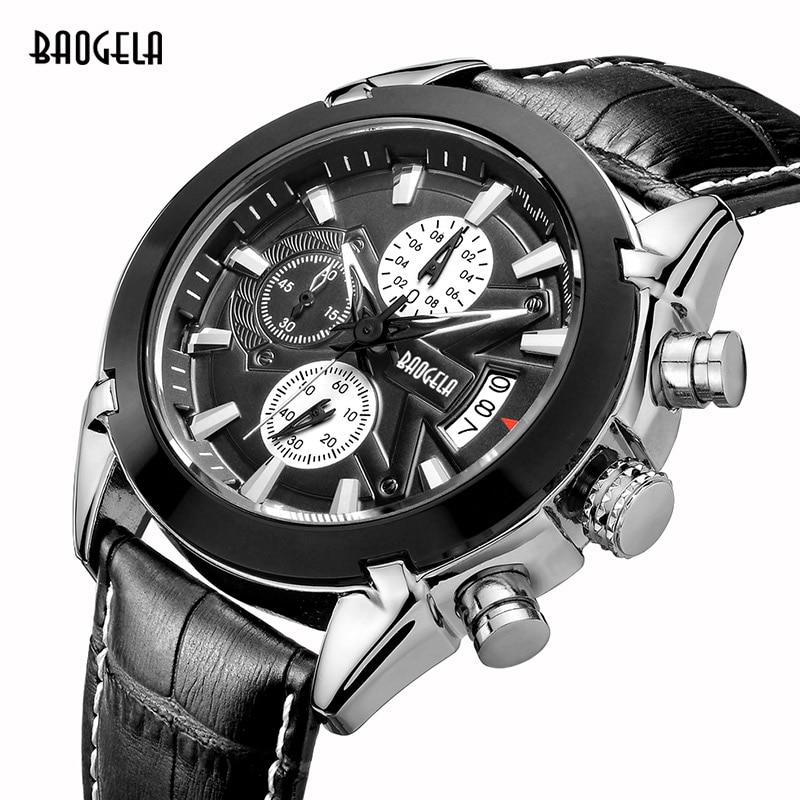 0fae9aab574 Masculino Cronógrafo Dos Homens Luminosos Relógios Homem De Couro Marca De Luxo  Militar relógios de Pulso Horas de Relógio com Calendário em Relógios de ...