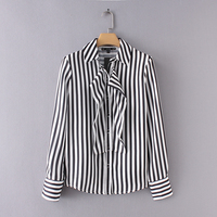 Fashion New Women Shoulder Pad Flounces Stripe Shirt Casual Slim Simple Turn Down Collar Long Sleeve