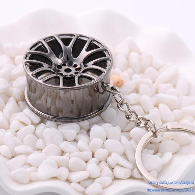 10PCS/Lot Wheel rim model keychain sleutelhanger high quality car key chain llaveros hombre creative wheel