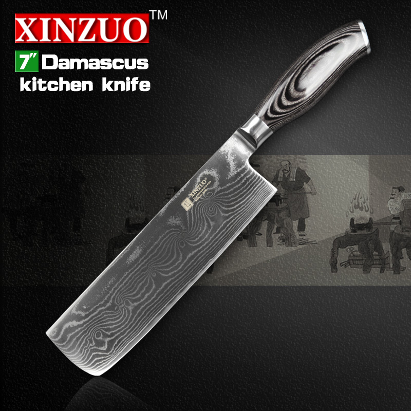 HOT 7 inch kitchen font b knives b font 73 layers Japanese VG10 Damascus steel chef