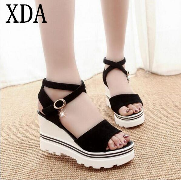 XDA 2017 Summer Korean muffin fish head women sandals with platform sandals wild simple shoes shook with students in X383