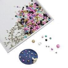 50 комплектов 6 мм/8 мм цветные заклепки с искусственным жемчугом DIY Свадебный декор заклепки жемчуг одежда кожаная обувь аксессуары бусины шипы