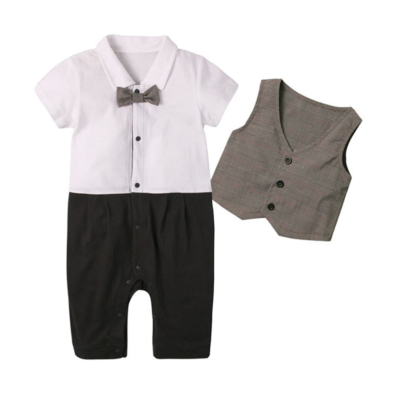 New Fashion Summer Baby Boys Clothes Set Gentleman Style Rompers + Vest Kids Toddler Jumpsuit Suits With Tie  2 Pcs/Set