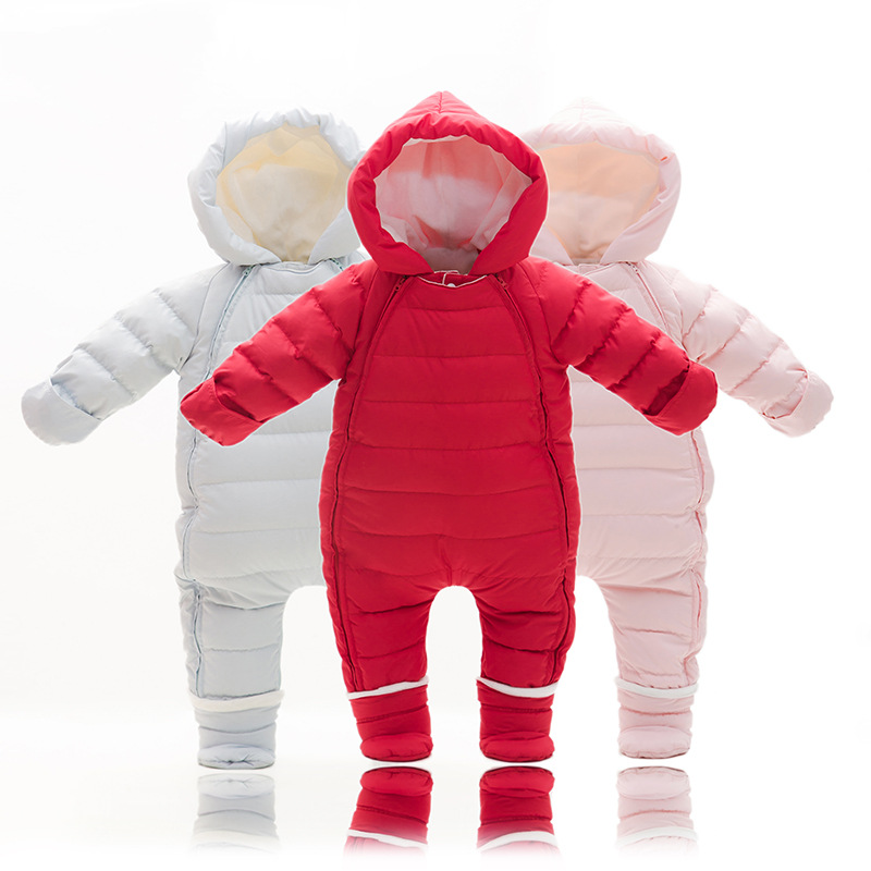 Winter Warm Infant Baby Rompers Jumpsuit Kids 0-2 Years Duck Down Overalls Snowsuit Toddler Boys Girls Romper Costume Clothes newborn winter jumpsuit infant boys girls white duck down rompers baby thick warm snowsuit kids climb clothes cyy247