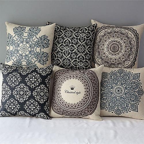 1Pc 45cm X 45cm Geometric Natural Linen Pillow Case Soft Throw Cover Waist Throw Pillowcases Home Decorative