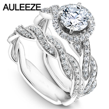 Twist Rings For Women Moissanites Engagement Ring Set 14K White Gold Halo 1CT Lab Grown Diamond Ring Wedding Bridal Set Jewelry