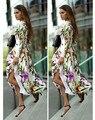 Новый Стильный 2015 Лето Женщины Длинные Платья Цветочный Принт Случайные Свободные Платья Плюс Размер S, M, L, XL