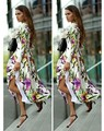New Stylish 2015 Summer Women  Long Dresses Floral Print Casual Loose Dress Plus Size S M L XL