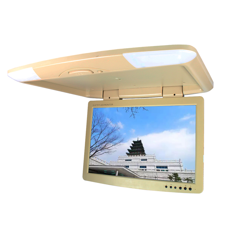 General DC 12V 15.5 Inch Car/Bus TFT LCD Roof Mounted Monitor Flip Down Monitor Overhead Monitor with 2-Way Video Input AV 1