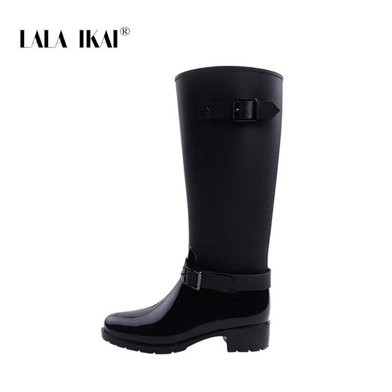 48412c18f3b ... LALA IKAI Women Rain Boots Hunter Zipper Med Heel Waterproof PU Buckle  Patchwork Over The Knee ...