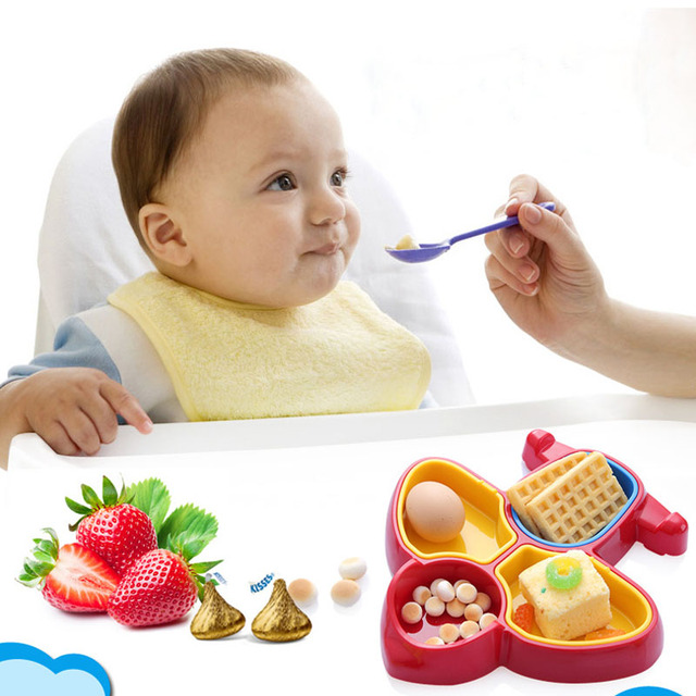 Baby Solid Feeding Eating Plate Cute Airplane Shaped Baby Copo 2Color Baby Tableware Cute Dishes Infant Eating Bowl Platos bebe