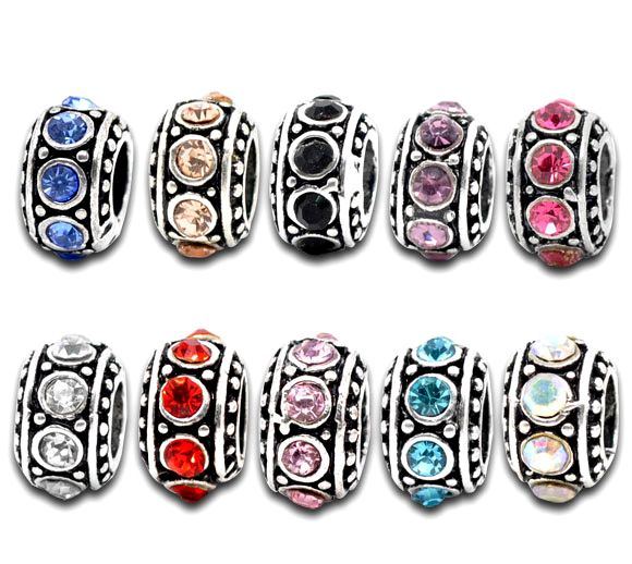 DoreenBeads Retail Mixed Antique Silver Rhinestone Spacer Beads Fit European Charm 11mm,sold per pack of 50 ...