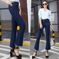 Women Jeans Korean Style bell Bottom Jeans Female Blue Solid Wide Leg Denim Pants Young Lady Loose Ninth Pants Tassels