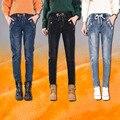 Outono e Inverno Cintura Elástica Plus Size calças de Brim das Mulheres de Veludo Menina Haren Calças Finas Soltas Calça Casual Estudantes Denim calças