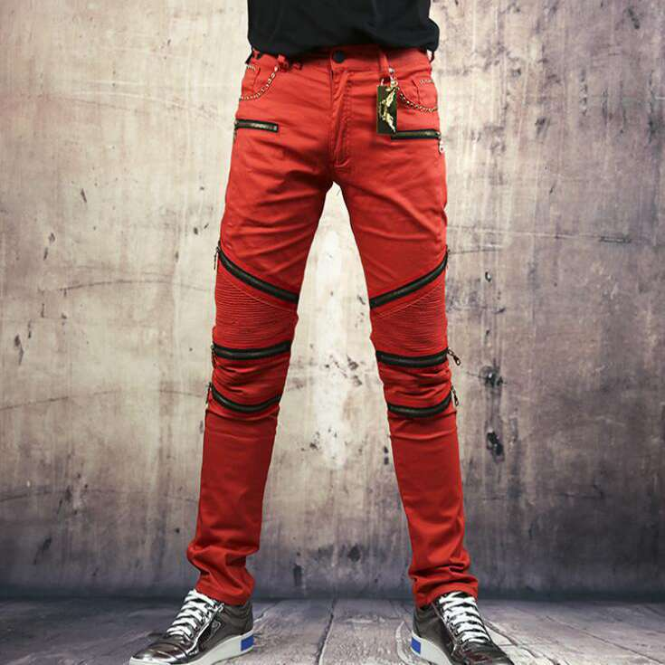 #1405 High quality Men biker jeans with zippers Skinny Mens jeans slim straight Biker pants Red Designer jeans men Ripped jeans