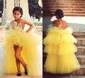 2017 Colorido Amarillo Alto Bajo Tul Flor Niñas Vestidos Para Niños Vestidos de Noche de Encaje de La Boda Vestidos De Comunion Vestido Del Desfile