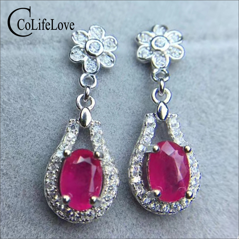 Elegant 925 silver ruby drop earrings for weddings 4 mm * 6 mm I grade ruby silver ruby earrings solid 925 sliver ruby jewelry 100% real heated ruby drop earrings for wedding 4 mm 5 mm si grade ruby earrings solid 925 silver ruby party jewelry girl gift