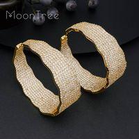 MoonTree Big Earrings For Women Three Tone Color Ear Drops Copper Women Width Baguette Earring Fashion Jewelry