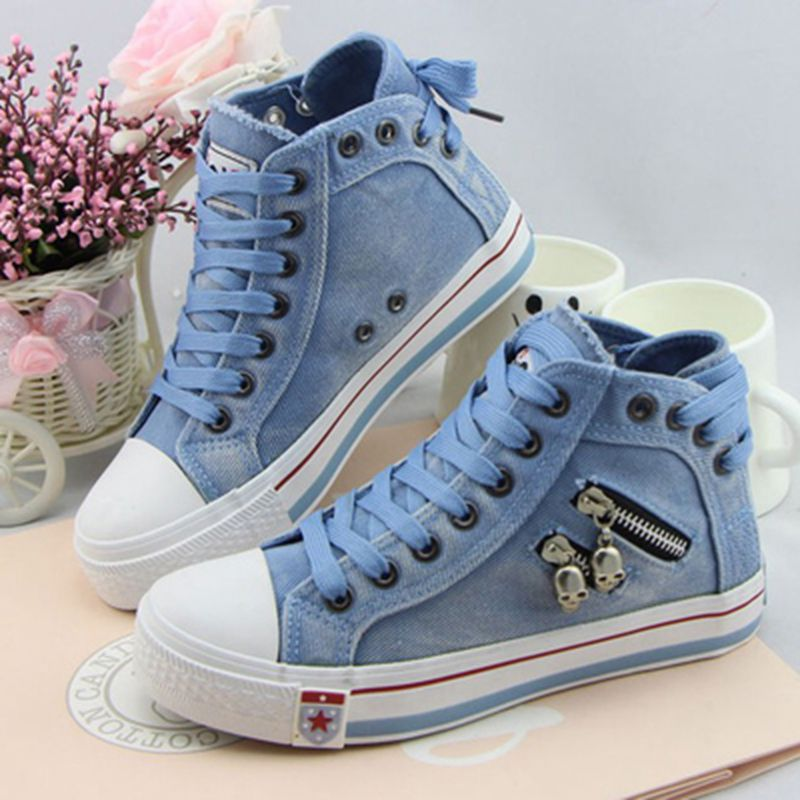 09671ddc0239 Hot Sell Women s Fashion Casual Bule Denim Canvas Shoes Female Ladies Girls  Spring Autumn Lace Up Flats Platform Heels Shoes