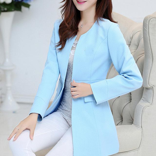 Novo 2017 das mulheres de Médio-longo ol fino terno blazer feminino cor sólida formais mulheres terno casaco blazer