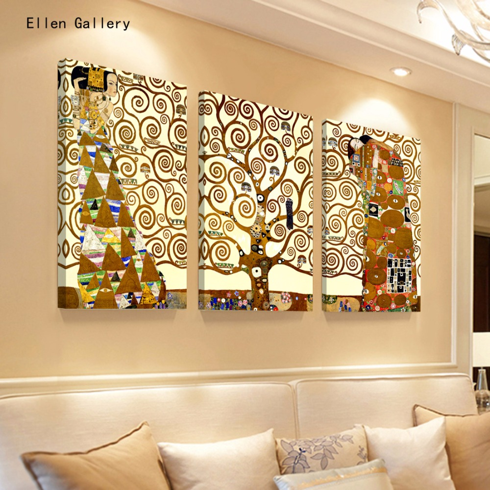 Aliexpress.com : Buy 3Pieces Tree Abstract Canvas Painting Wall ...