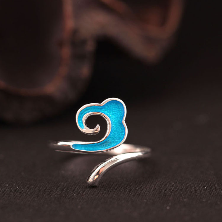 925 Silver Cloud Series Cloud Ring Enamel Xiang Yun Silver Ring Personalized Silver Decoration Technology Openings