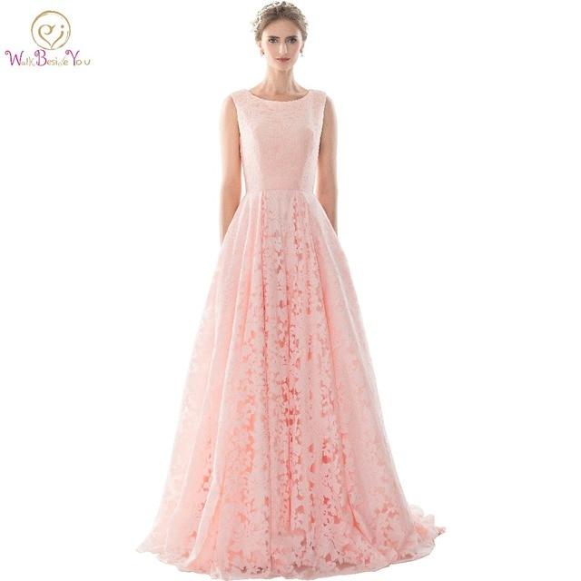 bab12f32c531 Pizzo rosa Abiti Da Sera formale abiti Lunghi Vestito Da Sera femminile  Prom Dresses Abiti Da